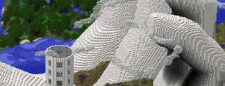 Panorama: Minecraft: Eine riesige Hand als Kunstwerk