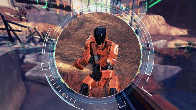 In Damaged Core könnt ihr die KI-Hirne eurer Gegner hacken und Einheiten wie diesen Kampfroboter auf Knopfdruck übernehmen.