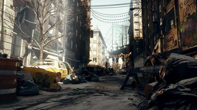 Detailverliebt: Eingefrorene Straßen, Müllsäcke, Generatoren, Papiermüll und zerstörte Autos säumen die verlassenen und blockierten Straßenzüge.