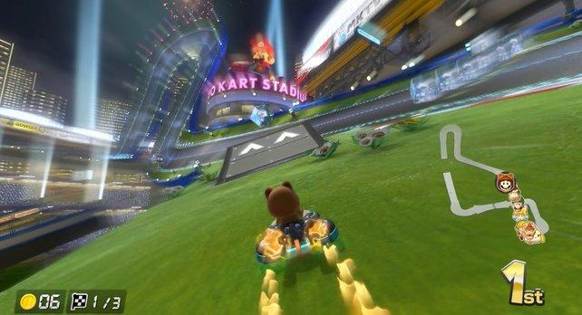 """Eine typische """"Mario Kart""""-Abkürzung: Mit einem Pilz durch das Gras rasen!"""