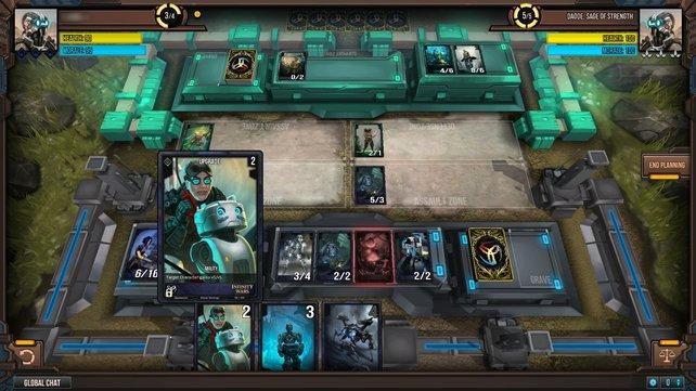 Eure nett animierten Karten setzt ihr zum Angriff, zur Verteidigung oder als Kommando-Einheiten ein.