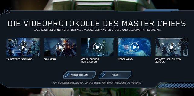Die fünf Videoprotokolle des Master Chiefs.