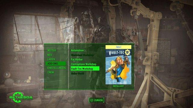 Vault-Tec Workshop: Nach der Installation geht ihr in das Menü, wo ihr den DLC starten könnt.