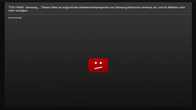 Nicht mehr verfügbar: Samsung hat ein Video einer Modifikation für GTA 5 sperren lassen, weil es das Galaxy Note 7 als explosiven Gegenstand zeigt.
