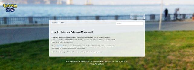 Support von Niantic Labs: Hier könnt ihr euren Account löschen lassen und neu anfangen.