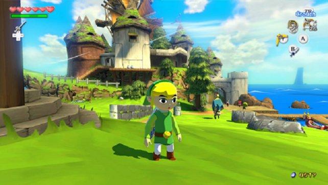 Hier seht ihr die baugleiche (aber grafisch hübschere) Wii-U-Fassung des 2002 erschienenen Gamecube-Zeldas The Wind Waker. Mögt ihr den Comic-Link nun oder hasst ihr ihn?