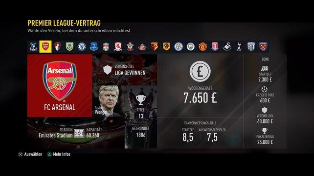 Hier seht ihr Club-Ziele, euren Lohn, Boni und die benötigten Ratings in The Journey.
