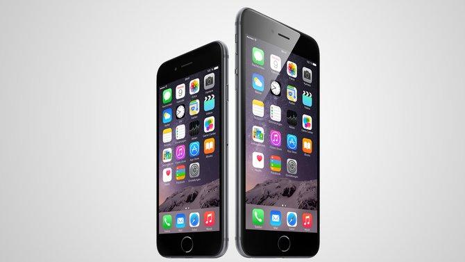 Das neue iPhone 6 gibt es in zwei Varianten. Links das iPhone 6, rechts das iPhone 6 Plus mit noch größerem Bildschirm.
