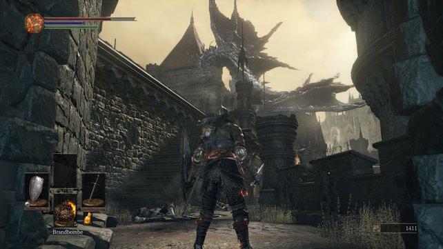 Der Drache auf der hohen Mauer von Lothric: Ein gefährliches und wunderschönes Geschöpf.