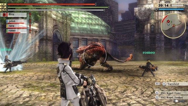 Im Kampf wechselt ihr rasch zwischen den Ausrichtungen eurer Waffe.