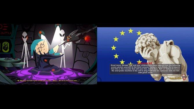 Nicht in Europa: In South Park sind Spielsequenzen wie die Alien-Entführung geschnitten. Statt der Analsondierung seht ihr nur einen (witzigen) Entschuldigungsbildschirm (rechts). (Bild von schnittberichte.com)