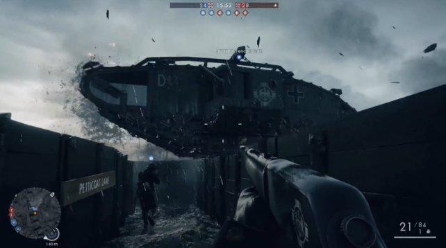 Das Landship überquert den Schützengraben, ohne Probleme!