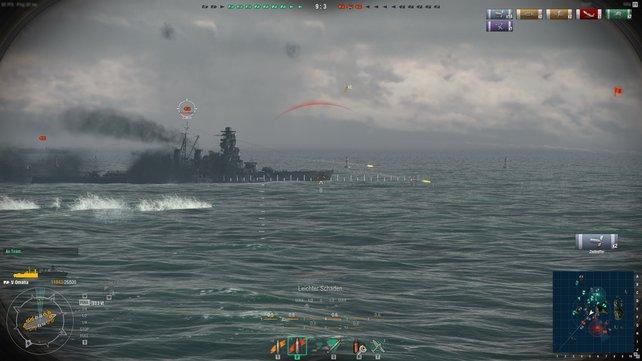 Mit amerikanischen Schiffen müsst ihr sehr nahe ran, um eure Torpedos abzuwerfen. Dafür trefft ihr auf diese Distanz fast immer!