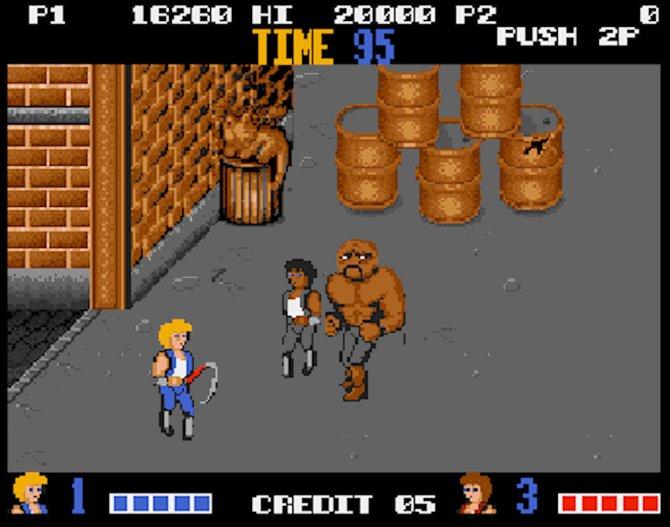 Ende der 1980er-Jahre waren Prügelspiele angesagt. Vom Automaten-Gekloppe Double Dragon gibt es ebenfalls eine Umsetzung.