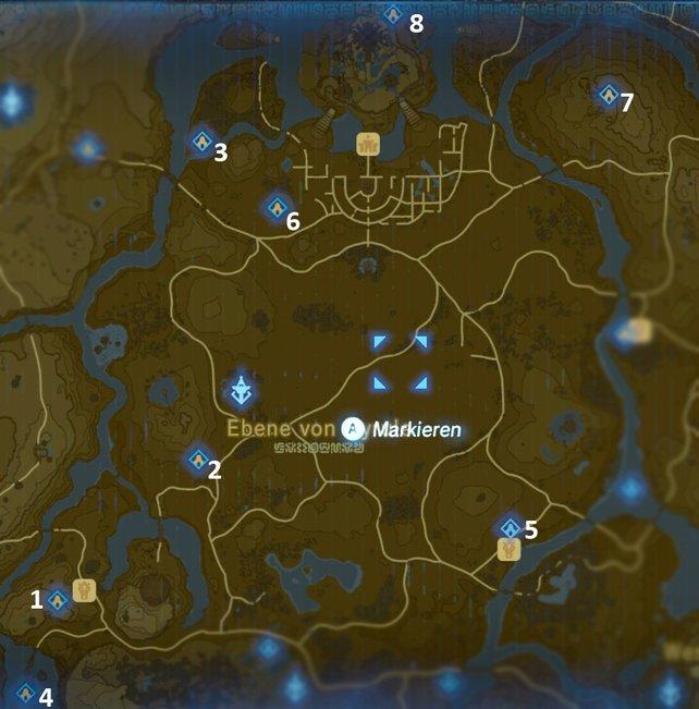 """Die Karte mit den Schreinen der Region """"Turm der Ebene""""."""