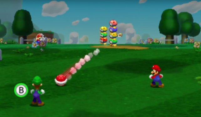 Mario und Luigi bei einer ihrer Paar-Attacken.