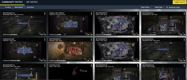 """Unter """"Community Tactics"""" seht ihr Strategien und Taktiken anderer Spieler ein."""
