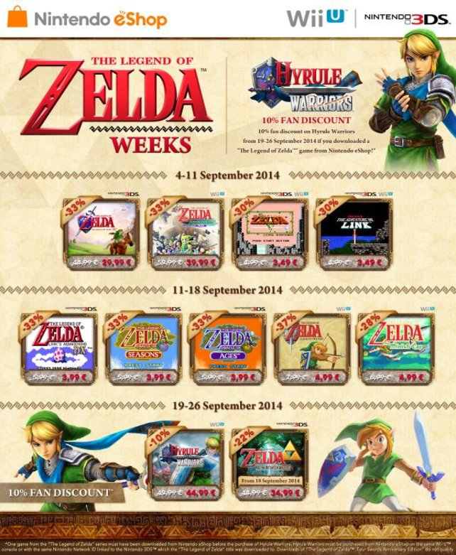 Fast den ganzen September lang gibt es spezielle Zelda-Angebote im eShop für Wii U und 3DS.