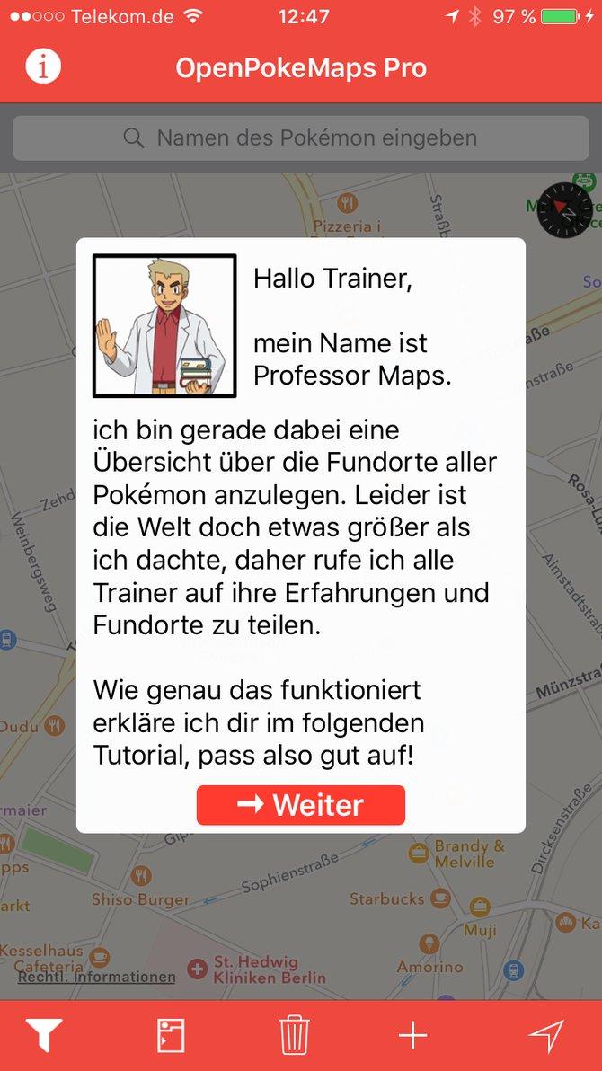 """Am Anfang erklärt euch """"Professor Maps"""" die Funktionen der App."""