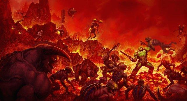 Als Hommage an das Original-Doom hat id Software dem Spiel dieses Motiv als Wende-Cover spendiert.