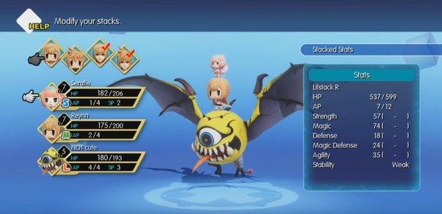Stapelt eure Charaktere und Monster, um wertvolle Attribut-Boni zu erhalten.