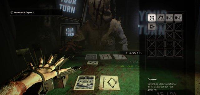 Im Inventar seht ihr alle Trumpfkarten, die ihr einsetzen könnt.