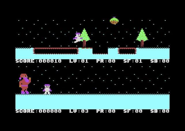 Da hüpft er, der kleine Schneemann.