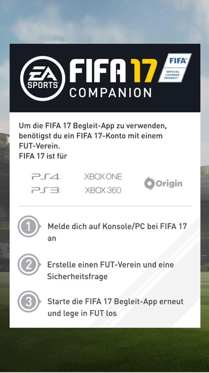 Die ersten drei Schritte um die Fifa 17 Companion-App nutzen zu können!