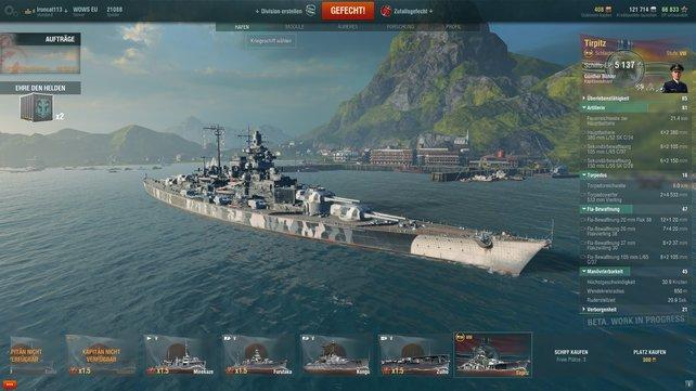 Die Tirpitz ist ein dickes Schlachtschiff der achten Stufe und daher eines der modernsten Schiffe im Spiel.