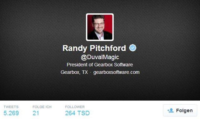Randy Pitchford ist der Mann hinter den Borderlands-Spielen.