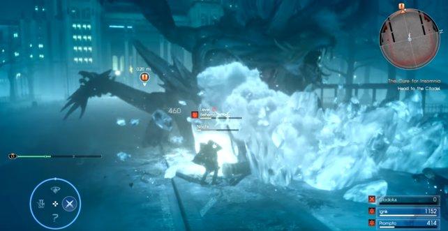 Hier seht ihr den Wirkungsbereich der Frost-Attacke (Stampf-Attacke).