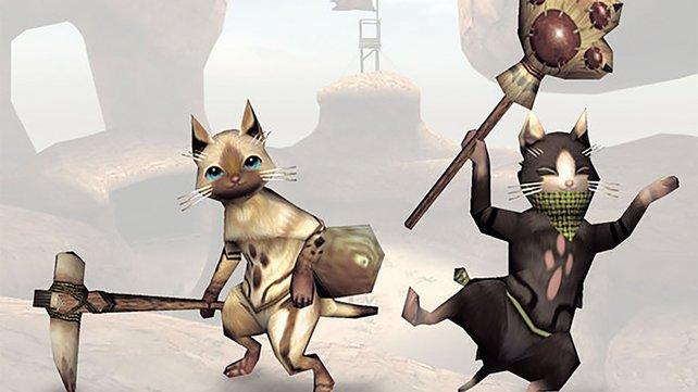 Zwei nette Gesellen: Felyne und Melynx helfen gerne bei der Jagd auf Monster.