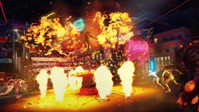 Heiß: In Sunset Overdrive dominieren Explosionen, Feuer, Waffen und Mutanten. In diesem Falle brennende Mutanten.