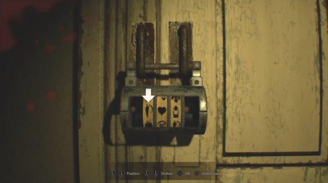 Symbol-Zahlenschloss am Abstellraum.