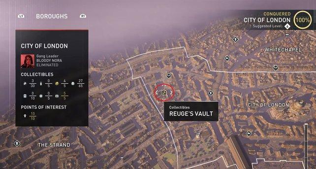 """Der Standort des geheimen Gewölbes im Bezirk """"City of London""""."""