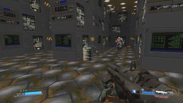 Überraschung: Eine verborgene Tür führt zu Karten aus den klassichen Doom-Teilen.