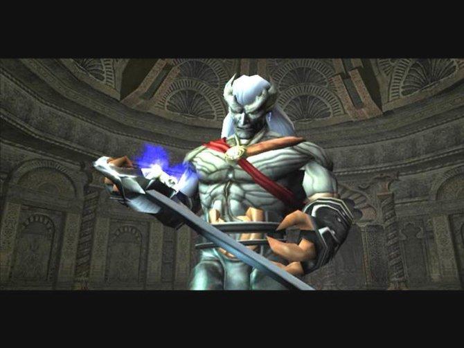 Kain hält den Soul Reaver, eine überaus mächtige Waffe, in seinen Händen.