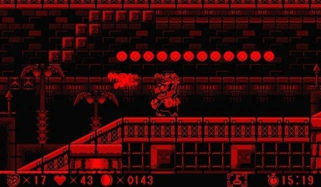 Rot vor einem schwarzen Hintergrund - mehr Farben kann das Gerät nicht darstellen. Virtual Boy Wario Land, was ihr hier seht, gilt als das beste der 22 VB-Spiele.