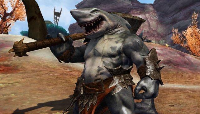 In Aion trefft ihr vielerlei Getier, das sich von klassischen Fantasy-Viechern abhebt. Wie diesen Hai-Mann.