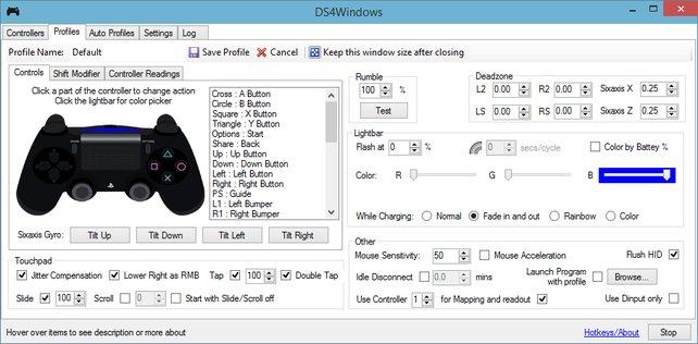 Die Benutzeroberfläche von DS4Windows ist sehr schlicht und einfach zu bedienen.
