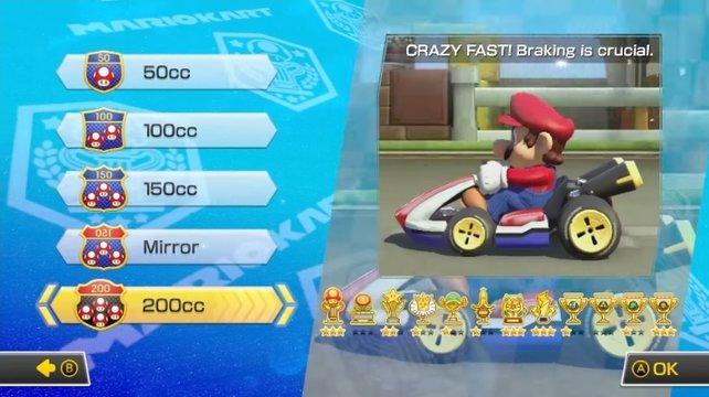 Holt die Gold-Trophäe in allen Wettbewerben, wenn ihr Gold Mario freischalten möchtet.