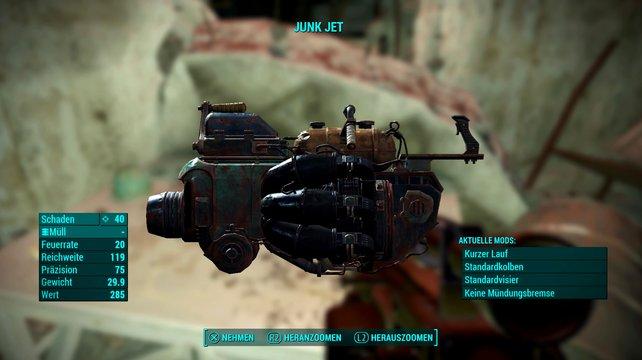 Einzigartige Waffe: Der Junk Jet.