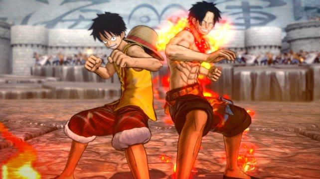 Ace und Ruffy kämpfen Seite an Seite.