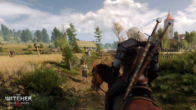 Bauern und andere Passanten trefft ihr oft. Mehr als einen Standard-Satz halten sie aber in der Regel nicht für Geralt bereit.