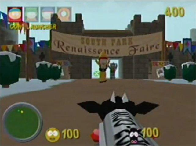 Hände hoch! Fettsack Cartman hat den Cow-Launcher im Anschlag.
