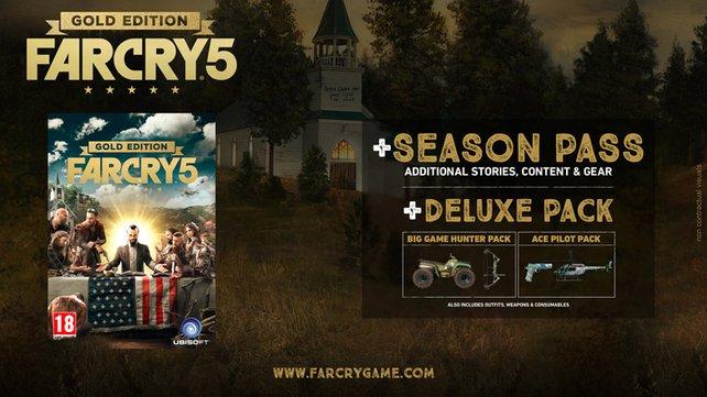 Die Gold Edition von Far Cry 5 beinhaltet alle Extras und den Season Pass.