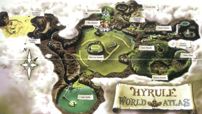 Die Karte von Ocarina of Time. Merkt euch die Stellen, an denen sich der Todesberg, der Deku-Baum und die Gerudo-Festung befinden.
