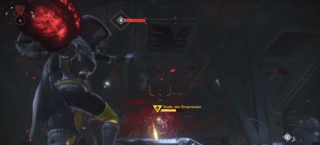 Mit den Bomben zerstört ihr wieder den Schild von Vosik in Phase 2.