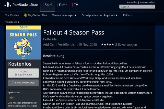 Der Season Pass zu Fallout 4 ist aktuell kostenlos im PlayStation Store gelistet