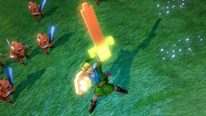 Mit dem Pixel-Masterschwert geht Link in Hyrule Warriors auf die Jagd nach Gegnern.